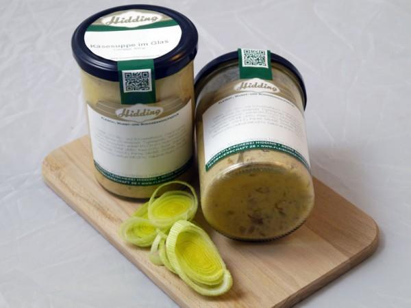 Käsesuppe im Glas